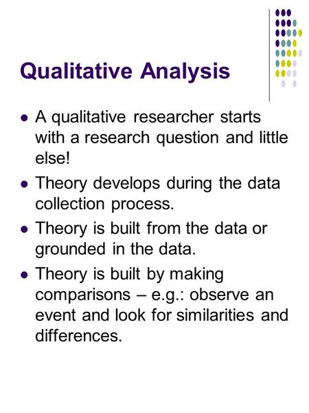 Qualitative Analysis A qualitative researcher starts with a research question and little else! Theory develops during the data collection process. Theory.