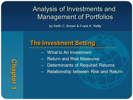 Analysis of Investments and Management of Portfolios by Keith C