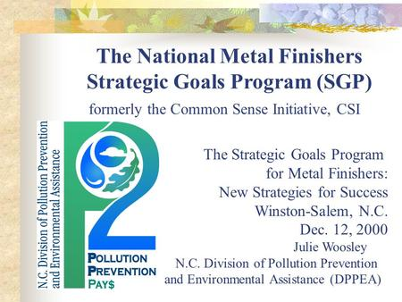 The National Metal Finishers Strategic Goals Program (SGP) formerly the Common Sense Initiative, CSI The Strategic Goals Program for Metal Finishers: New.