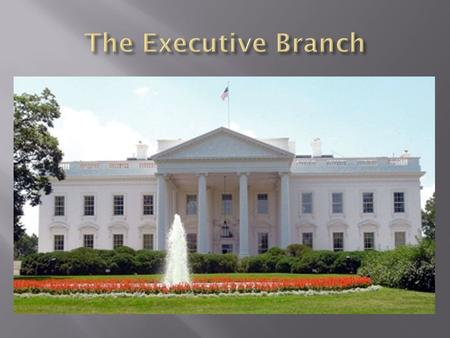  The executive branch of the Government is responsible for enforcing the laws of the land. 1. President 2. Vice President 3. Cabinet Members  Advises.
