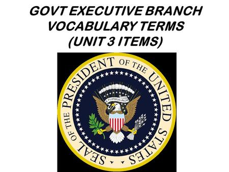 GOVT EXECUTIVE BRANCH VOCABULARY TERMS (UNIT 3 ITEMS)