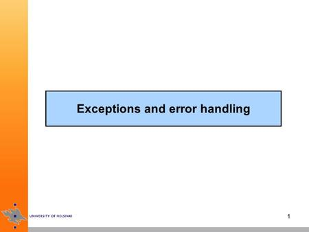 1 Exceptions and error handling. 2 Java exception mechanism when an error or exceptional condition occurs, you throw an exception which is caught by an.