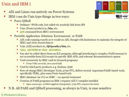 © iPerimeter Ltd 2014 1 Unix and IBM i  AIX and Linux run natively on Power Systems  IBM i can do Unix type things in two ways:  Posix/QShell  Ordinary.