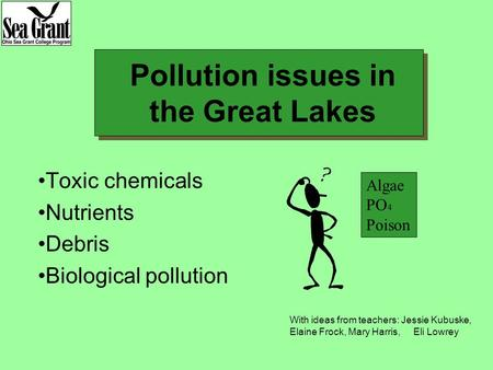 Pollution issues in the Great Lakes Toxic chemicals Nutrients Debris Biological pollution Algae PO 4 Poison With ideas from teachers: Jessie Kubuske, Elaine.