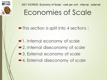 KEY WORDS: Economy of Scale ; cost per unit ; internal ; external Economies of Scale  This section is split into 4 sections ;  1. Internal economy of.