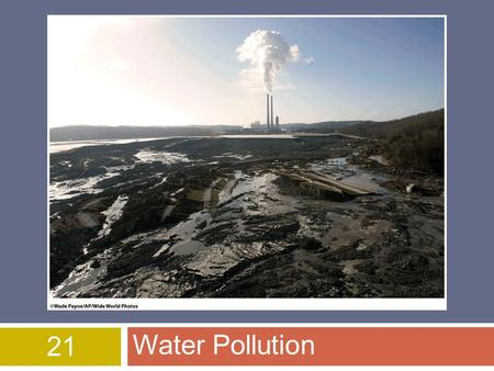 21 Water Pollution. Water pollution  Any physical or chemical change in water that adversely affects the health of humans & other organisms  Eight categories.