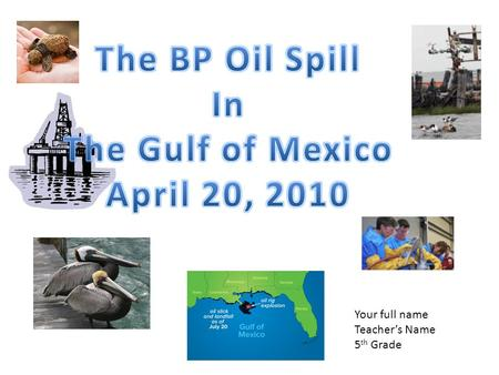 Your full name Teacher's Name 5 th Grade. Impact of the BP Oil Spill How is the leak being cleaned up? Why couldn't the oil leak be stopped quickly? What.