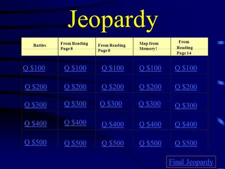 Jeopardy Battles From Reading Page 8 From Reading Page 8 Map from Memory! From Reading Page 14 Q $100 Q $200 Q $300 Q $400 Q $500 Q $100 Q $200 Q $300.