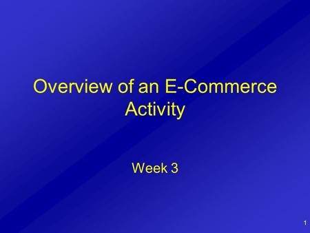 1 Overview of an E-Commerce Activity Week 3. 2 References Chapter 3: Launching a Business on the Internet from Electronic Commerce – From Vision to Fulfillment.
