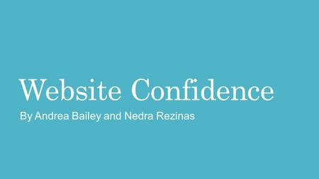 Website Confidence By Andrea Bailey and Nedra Rezinas.