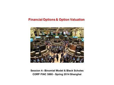 Session 4– Binomial Model & Black Scholes CORP FINC 5880 - Spring 2014 Shanghai.