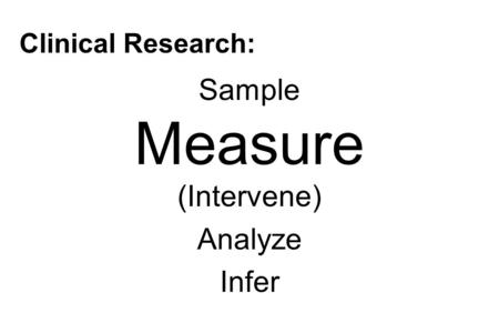 Clinical Research: Sample Measure (Intervene) Analyze Infer.