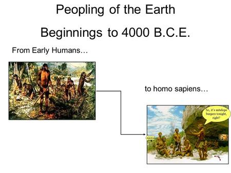 Peopling of the Earth Beginnings to 4000 B.C.E. From Early Humans… to homo sapiens…