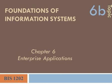 FOUNDATIONS OF INFORMATION SYSTEMS Topic 6b BIS 1202 Chapter 6 Enterprise Applications.