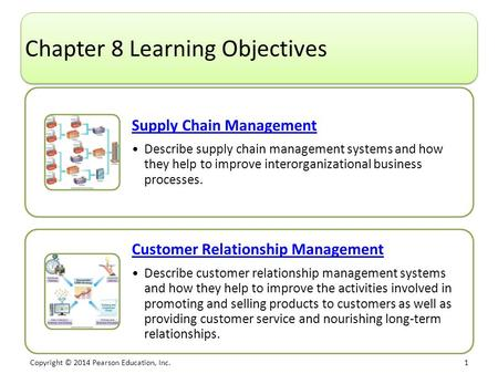 Copyright © 2014 Pearson Education, Inc. 1 Chapter 8 Learning Objectives Supply Chain Management Describe supply chain management systems and how they.