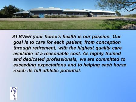At BVEH your horse's health is our passion. Our goal is to care for each patient, from conception through retirement, with the highest quality care available.