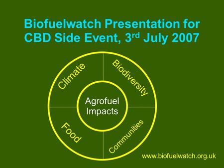 Biofuelwatch Presentation for CBD Side Event, 3 rd July 2007 Food Communities Biodiversity Climate Agrofuel Impacts www.biofuelwatch.org.uk.
