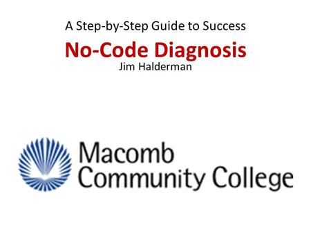 No-Code Diagnosis A Step-by-Step Guide to Success Jim Halderman.