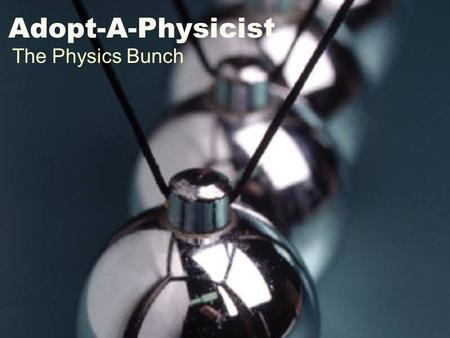 Adopt-A-Physicist The Physics Bunch. John Hubisz.