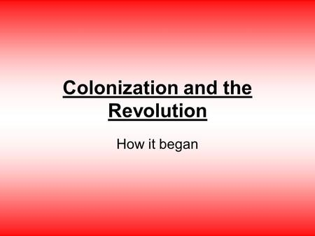Colonization and the Revolution How it began. Important Places Roanoke- First attempt at settling the new world in 1587. All settlers disappeared around.