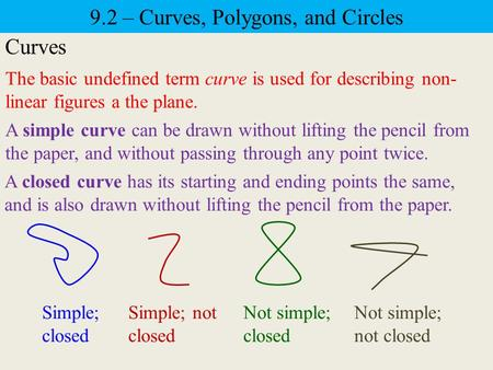 9.2 – Curves, Polygons, and Circles Curves The basic undefined term curve is used for describing non- linear figures a the plane. A simple curve can be.