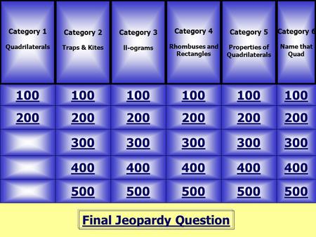 Final Jeopardy Question Category 1 Quadrilaterals Category 2 Traps & Kites 100 Category 6 Name that Quad Category 4 Rhombuses and Rectangles Category 5.