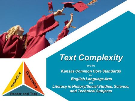 Text Complexity and the Kansas Common Core Standards for English Language Arts and Literacy in History/Social Studies, Science, and Technical Subjects.