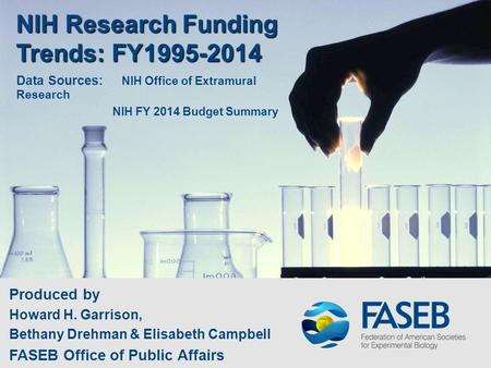 NIH Research Funding Trends: FY1995-2014 Produced by Howard H. Garrison, Bethany Drehman & Elisabeth Campbell FASEB Office of Public Affairs Data Sources: