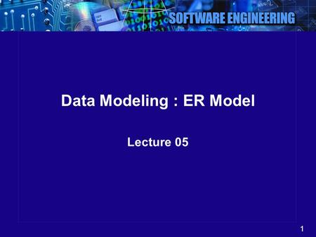 1 Data Modeling : ER Model Lecture 05. 2 Why We Model  We build models of complex systems because we cannot comprehend any such system in its entirety.