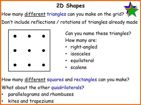 2D Shapes How many different triangles can you make on the grid? Don't include reflections / rotations of triangles already made How many different squares.
