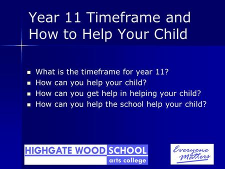 Year 11 Timeframe and How to Help Your Child What is the timeframe for year 11? How can you help your child? How can you get help in helping your child?