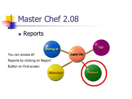 Master Chef 2.08 Reports You can access all Reports by clicking on Report Button on first screen.