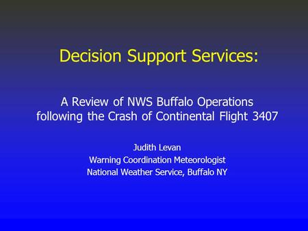 Decision Support Services: