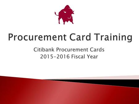 Citibank Procurement Cards 2015-2016 Fiscal Year.