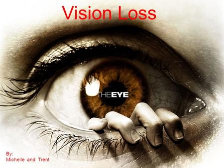 Vision Loss By: Michelle and Trent.  Vision is one of our most important avenues for the acquisition and assimilation of knowledge.
