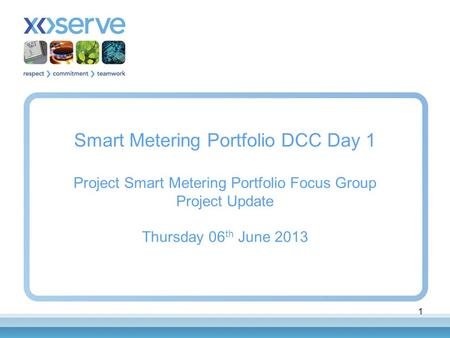 1 Smart Metering Portfolio DCC Day 1 Project Smart Metering Portfolio Focus Group Project Update Thursday 06 th June 2013.