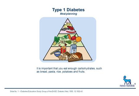 Type 1 Diabetes Meal planning Slide No. 1 Diabetes Education Study Group of the EASD. Diabetic Med, 1995; 12:1022-43 It is important that you eat enough.