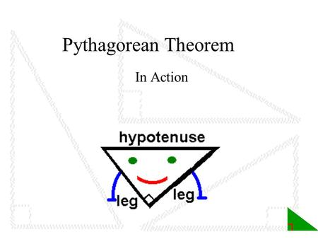Pythagorean Theorem In Action. Table of Contents 1. Title page 2. Table of Contents 7. Lesson 1: Right Angles A. All over the world B. Search the web.