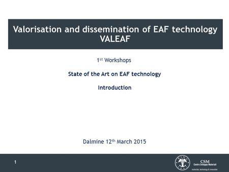 Valorisation and dissemination of EAF technology