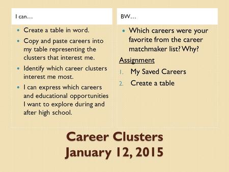 Career Clusters January 12, 2015 I can…BW… Create a table in word. Copy and paste careers into my table representing the clusters that interest me. Identify.