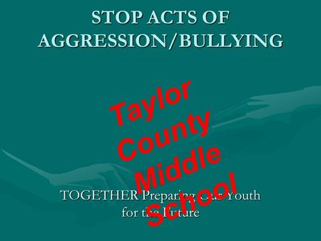 STOP ACTS OF AGGRESSION/BULLYING TOGETHER Preparing Our Youth for the Future Taylor County Middle School.
