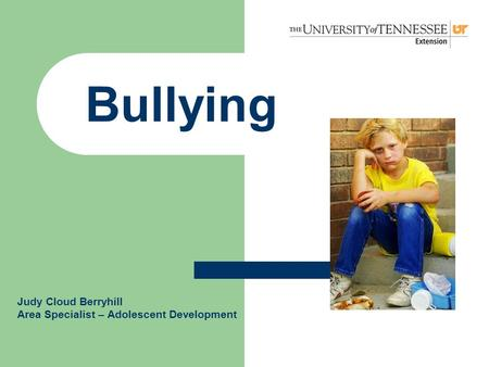 Bullying Judy Cloud Berryhill Area Specialist – Adolescent Development.