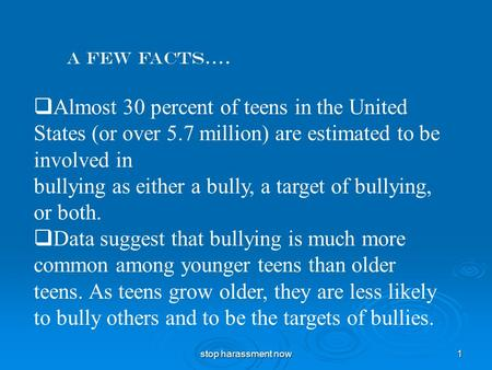 stop harassment now 1 A few facts….  Almost 30 percent of teens in the United States (or over 5.7 million) are estimated to be involved in bullying as.