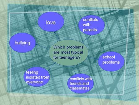Which problems are most typical for teenagers? bullying love conflicts with parents school problems conflicts with friends and classmates feeling isolated.