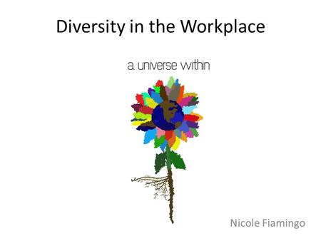 Diversity in the Workplace Nicole Fiamingo. D different I individuals V valuing E each other R regardless of S skin I intellect T talents or Y years.