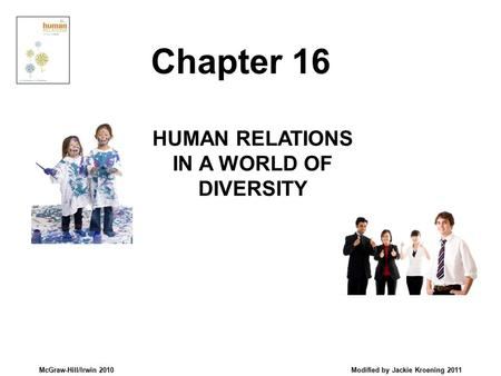 McGraw-Hill/Irwin 2010 Modified by Jackie Kroening 2011 HUMAN RELATIONS IN A WORLD OF DIVERSITY Chapter 16.