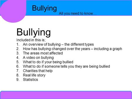 Bullying All you need to know… Bullying Included <strong>in</strong> this is; 1.An overview of bullying – the different types 2.How has bullying changed over the years.
