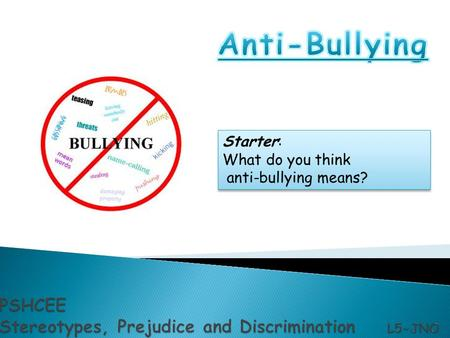 Starter: What do you think anti-bullying means? Starter: What do you think anti-bullying means?