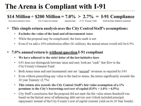 The Arena is Compliant with I-91 $14 Million ÷ $200 Million = 7.0% > 2.7% = I-91 Compliance In secured annual revenues City/County Investment Annual return.