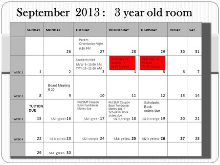 September 2013 : 3 year old room SUNDAYMONDAYTUESDAYWEDNESDAYTHURSDAYFRIDAYSAT. 252525 25262728293031 WEEK 1 1234567 WEEK 2 891011121314 WEEK 3 15 S&T: